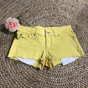 Forever 21 yellow denim shorts Sz 25